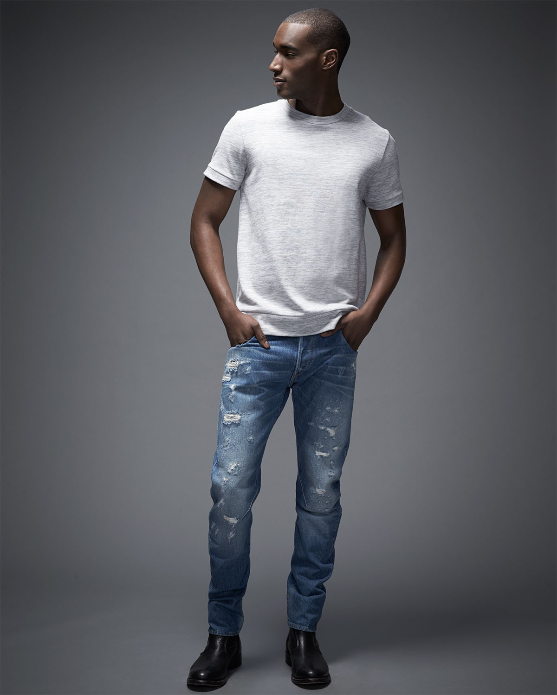 g star raw arc 3d destroyed slim denim jeans in blue for. Black Bedroom Furniture Sets. Home Design Ideas