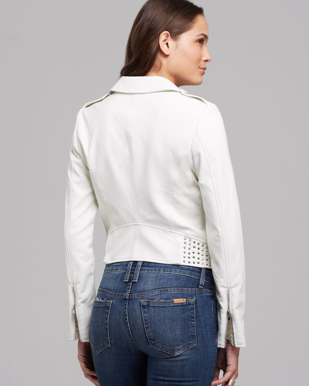 Lyst Guess Jacket Faux Leather Moto Crop In White