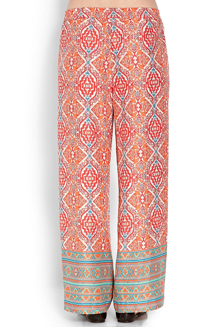Forever 21 Tribal Print Wide-Leg Pants in Pink | Lyst