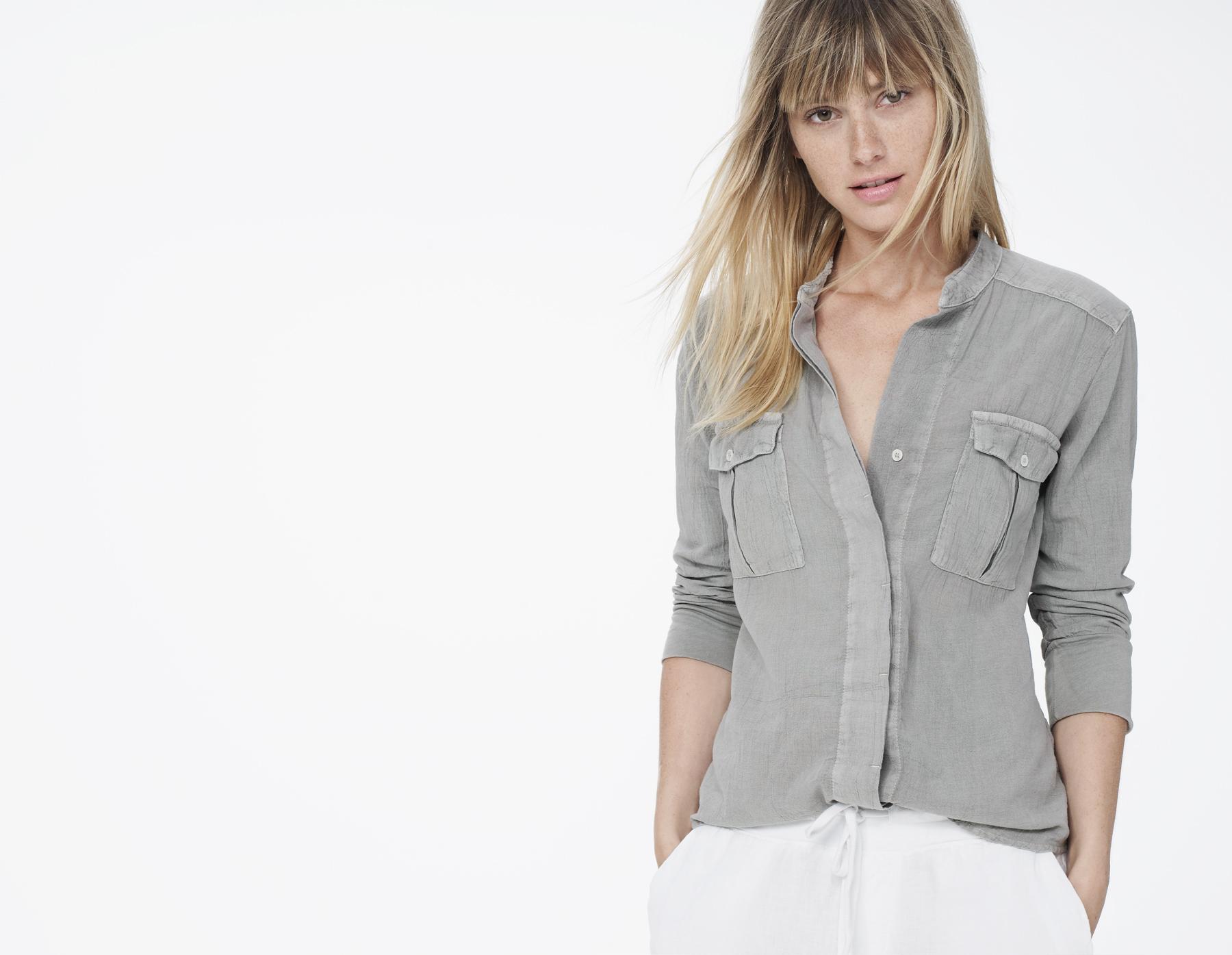 e8b91767 James Perse Cotton Gauze Collarless Safari Shirt in Gray - Lyst