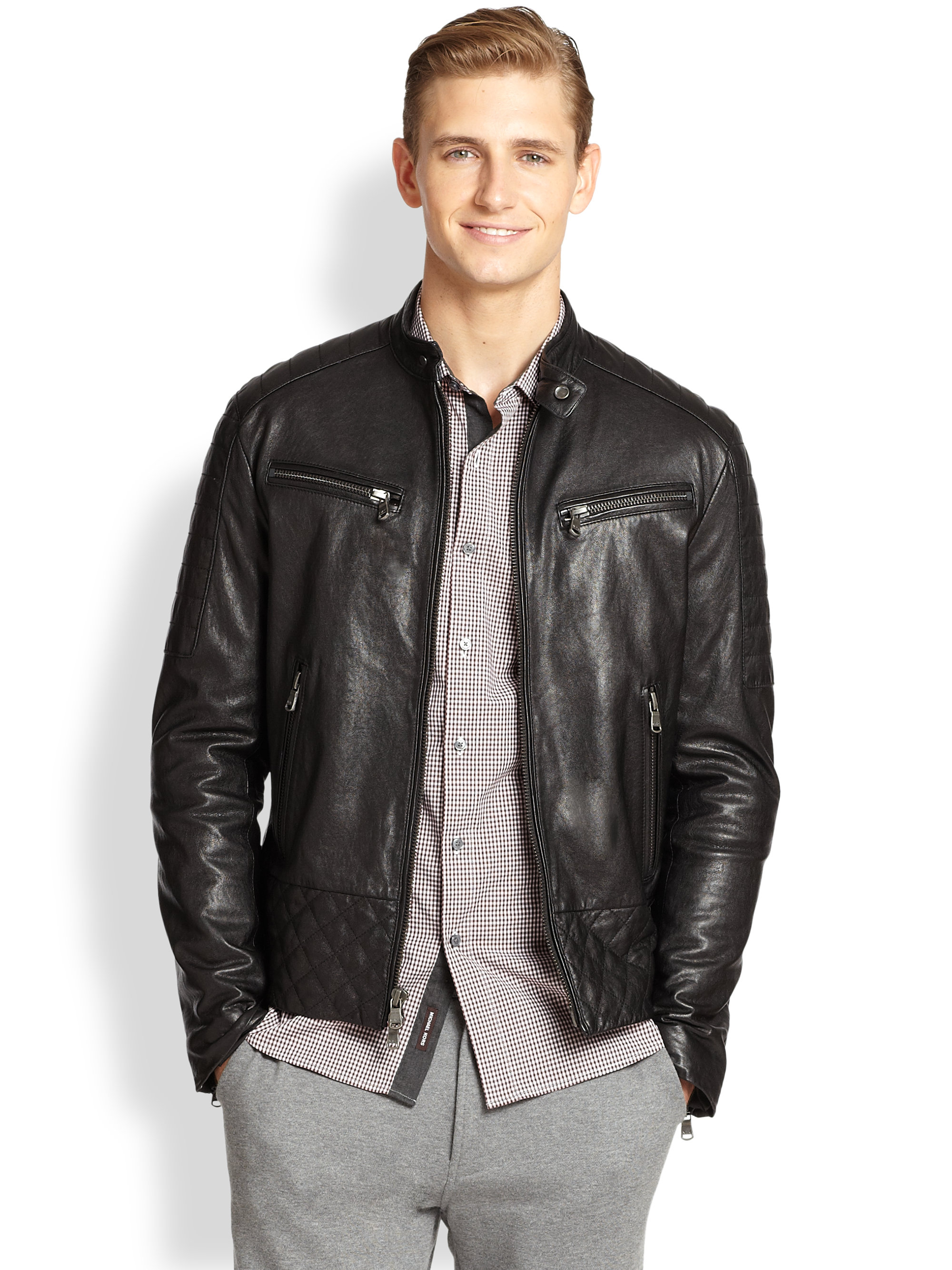 Michael kors Quilted Leather Jacket in Black for Men | Lyst