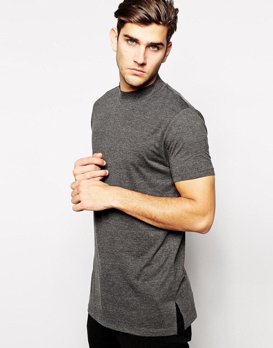 Lyst asos longline t shirt with turtleneck in gray for men for Turtleneck under t shirt