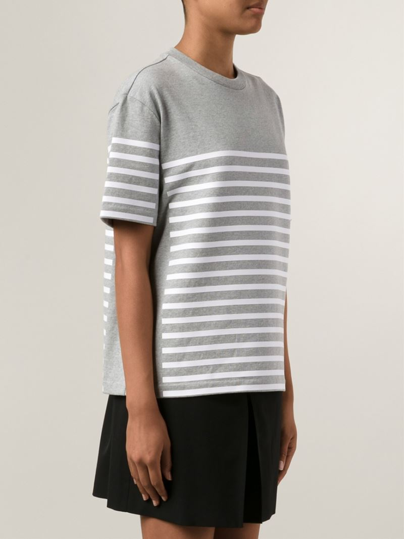 T by alexander wang striped t shirt in gray lyst for Grey striped t shirt