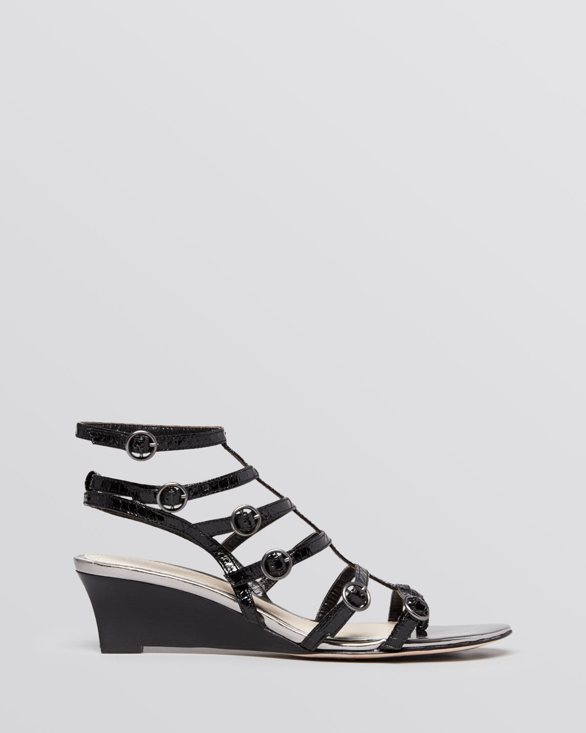elie tahari open toe gladiator wedge sandals troy in