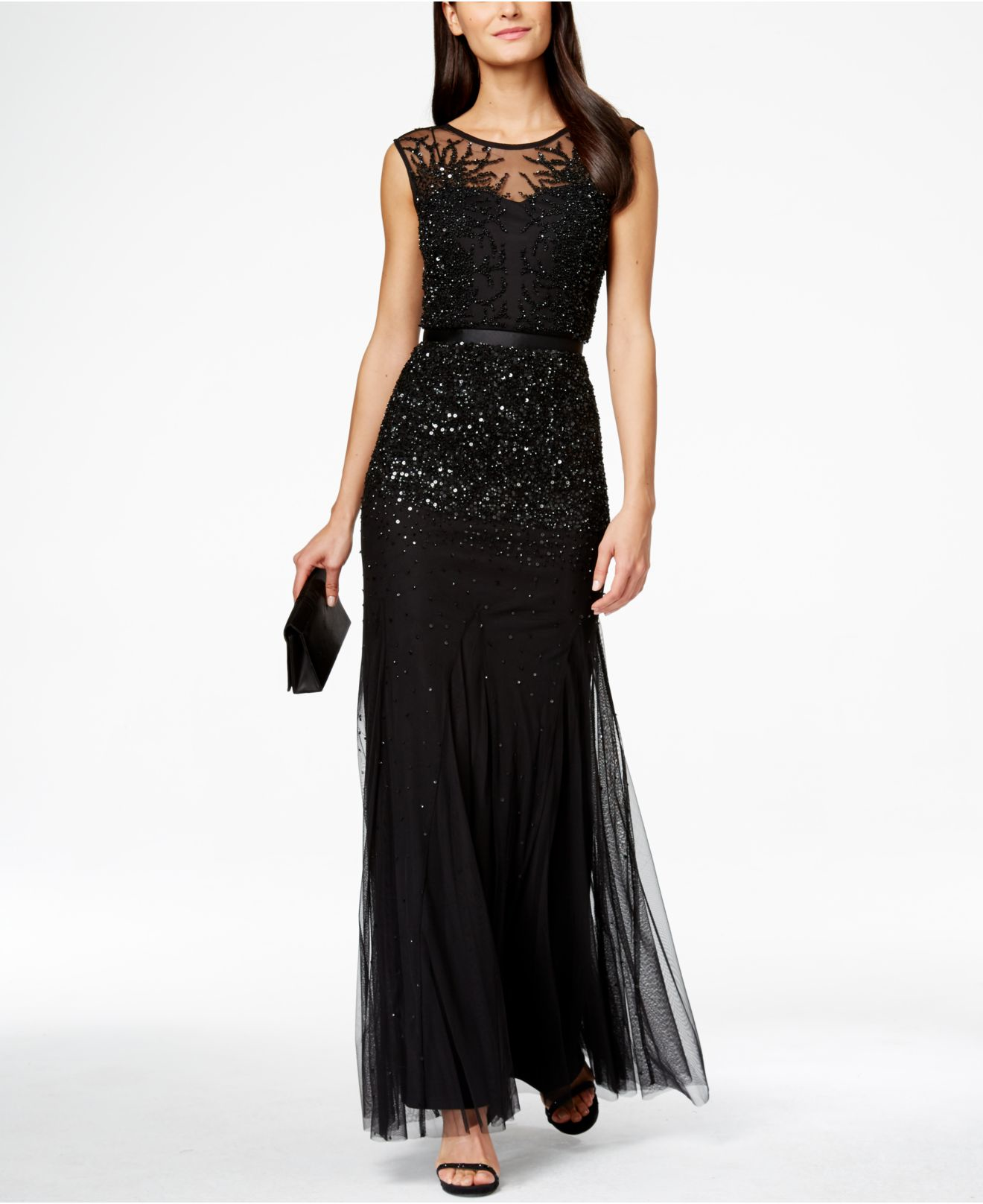 Lyst - Adrianna Papell Sleeveless Beaded Illusion Gown in Black