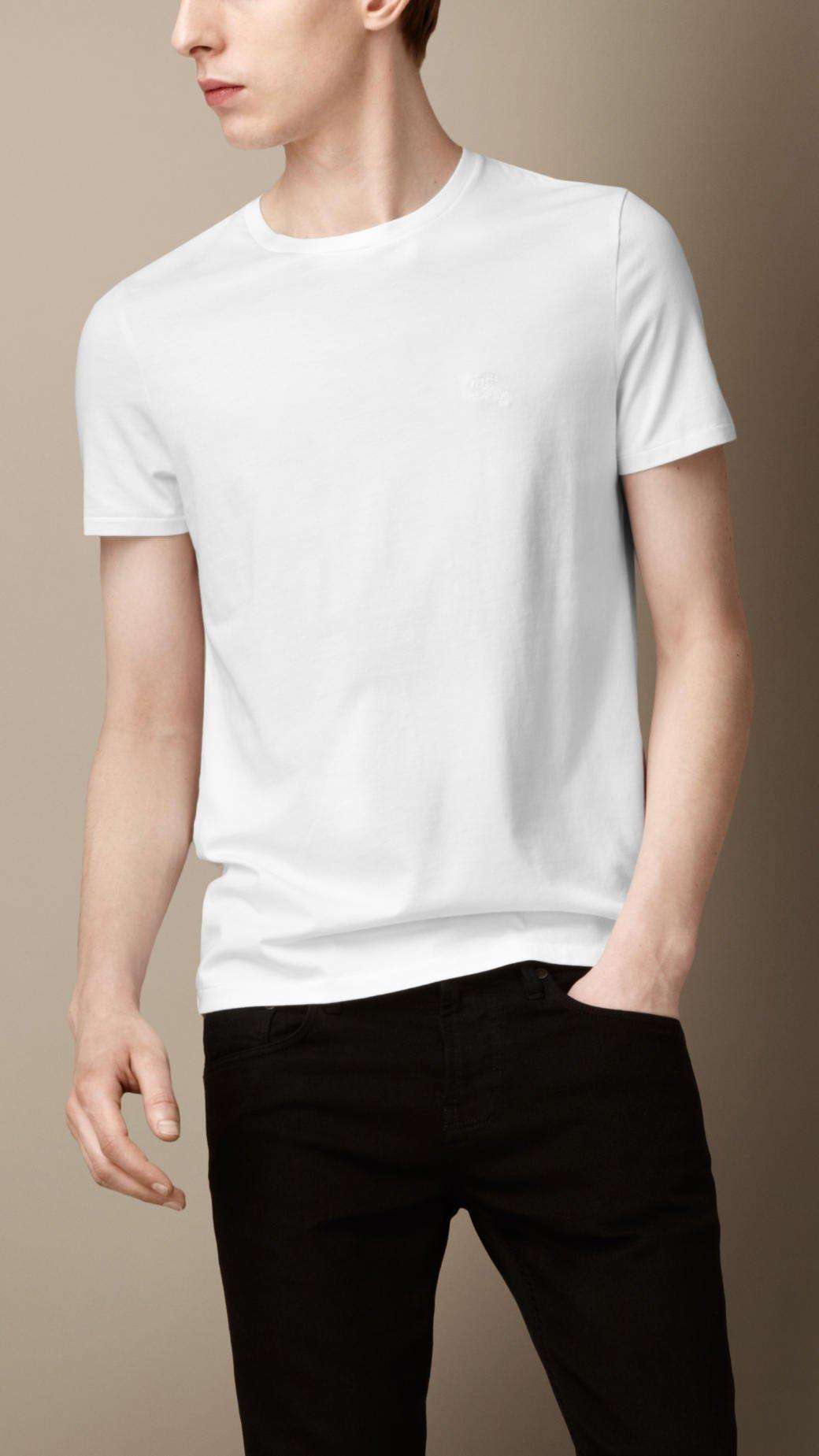 ca970b0e7 Burberry Liquid Soft Cotton Tshirt in White for Men - Lyst