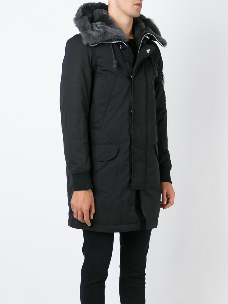 Emporio Armani Parka Coat In Black For Men Lyst