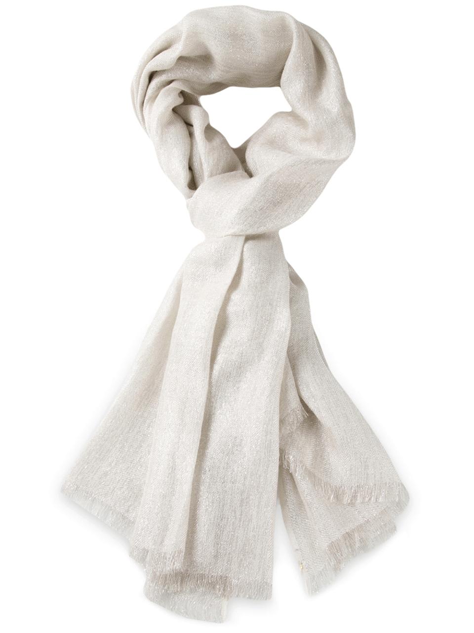 brunello cucinelli lurex scarf in gray lyst