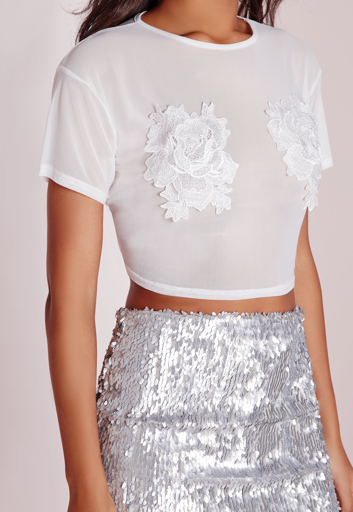 Lyst missguided mesh floral applique crop top white in black gallery mightylinksfo