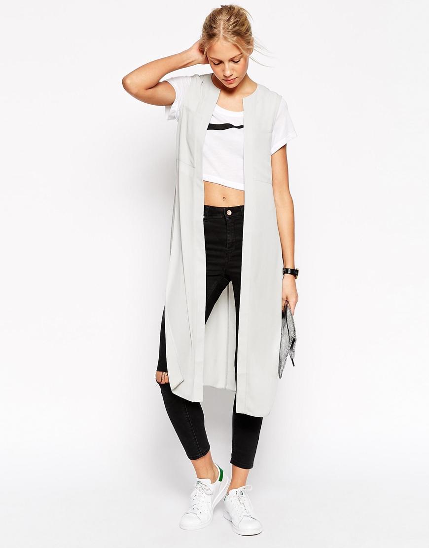 Asos Sleeveless Longline Kimono in Gray | Lyst