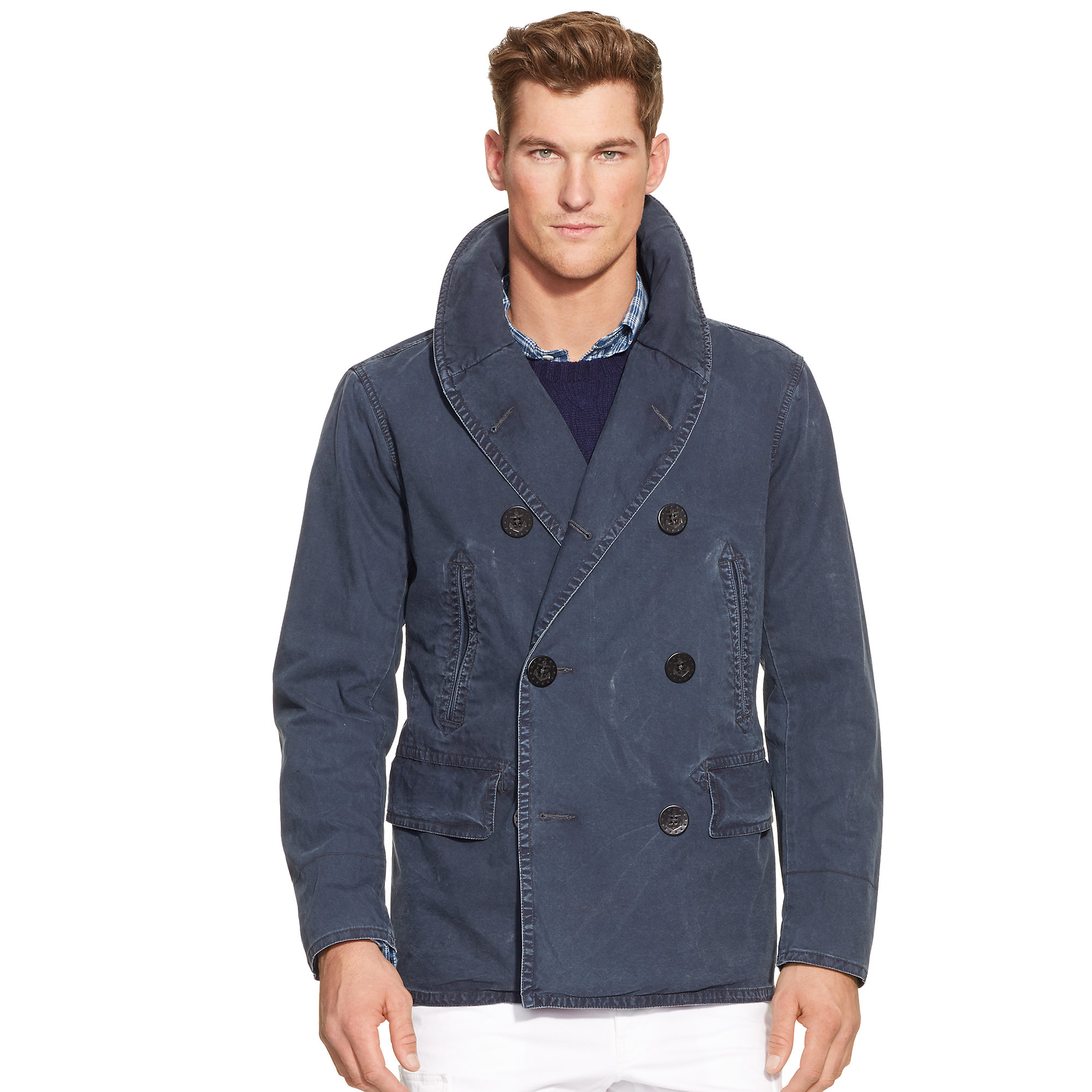 Polo ralph lauren Academy Shawl-collar Pea Coat in Blue for Men | Lyst
