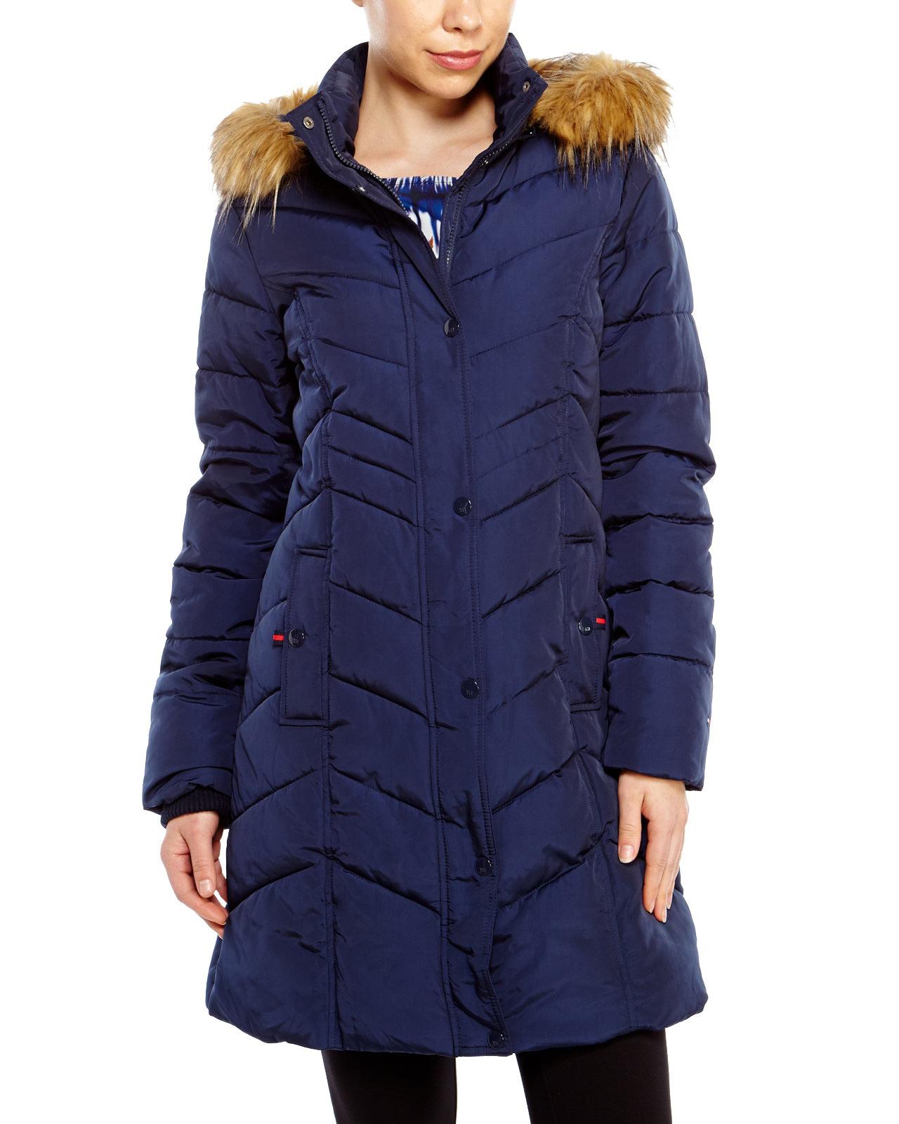 475c970be18d2 Lyst - Tommy Hilfiger Faux Fur Trim Hooded Long Coat in Blue