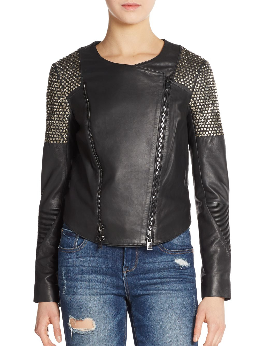 Haute Hippie Studded Leather Moto Jacket In Black Lyst