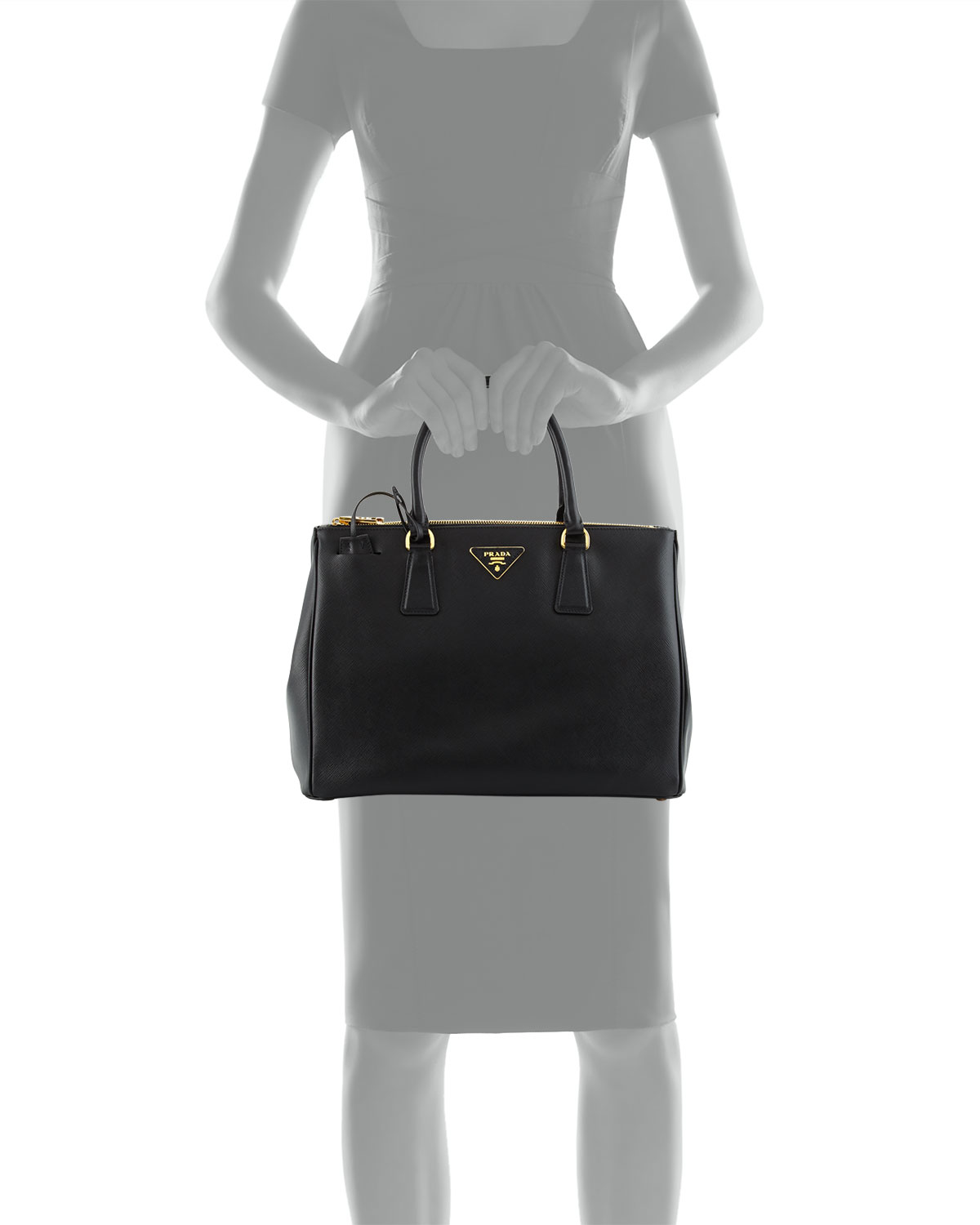 3aa5d20146f1 Lyst - Prada Saffiano Executive Tote Bag in Black