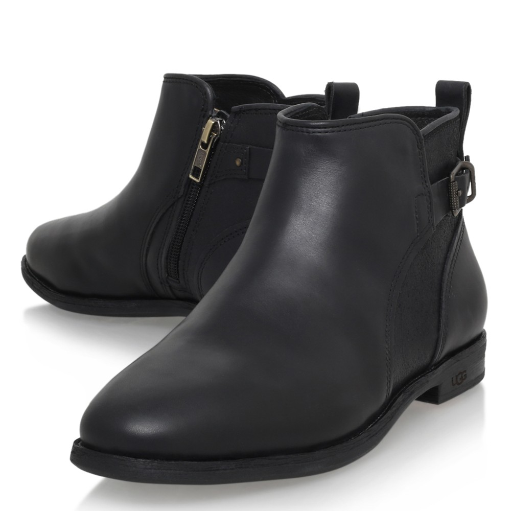 9ff28b968b3c4 ... new zealand ugg demi leather flat heeled chelsea ankle boots in black  lyst 3d4e1 ed9a9