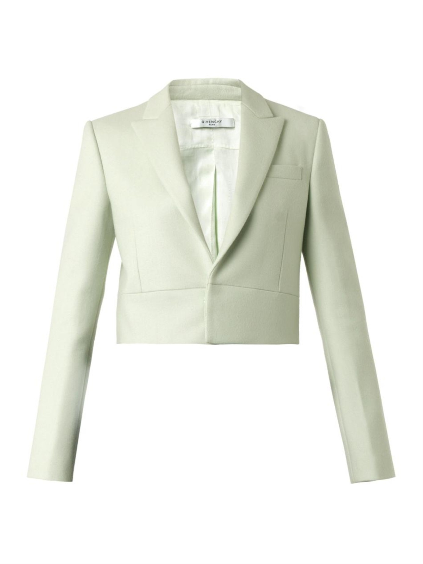 31b21992f6d2 Givenchy Neoprene-panel Wool-blend Cropped Jacket in Green - Lyst