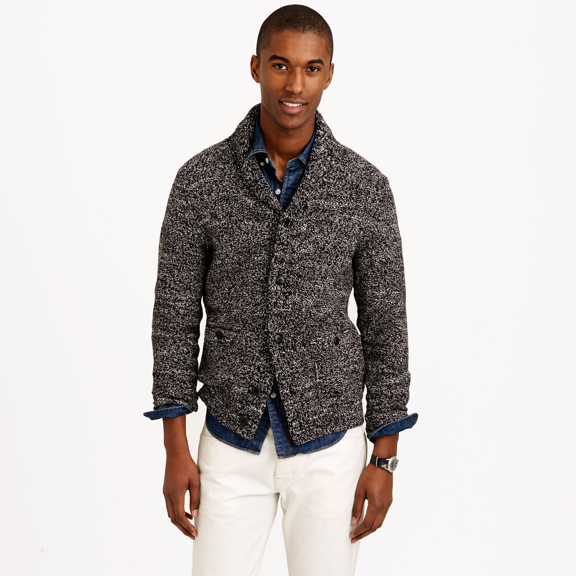 J.crew Marled Cotton Shawl-collar Cardigan Sweater in Black for ...