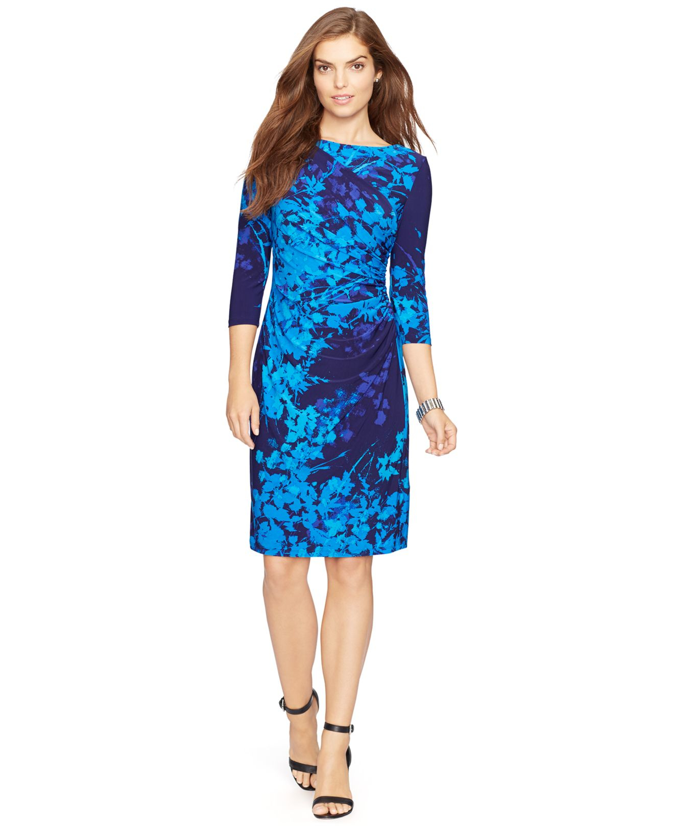 American Living Floral Print Jersey Dress In Blue Lyst