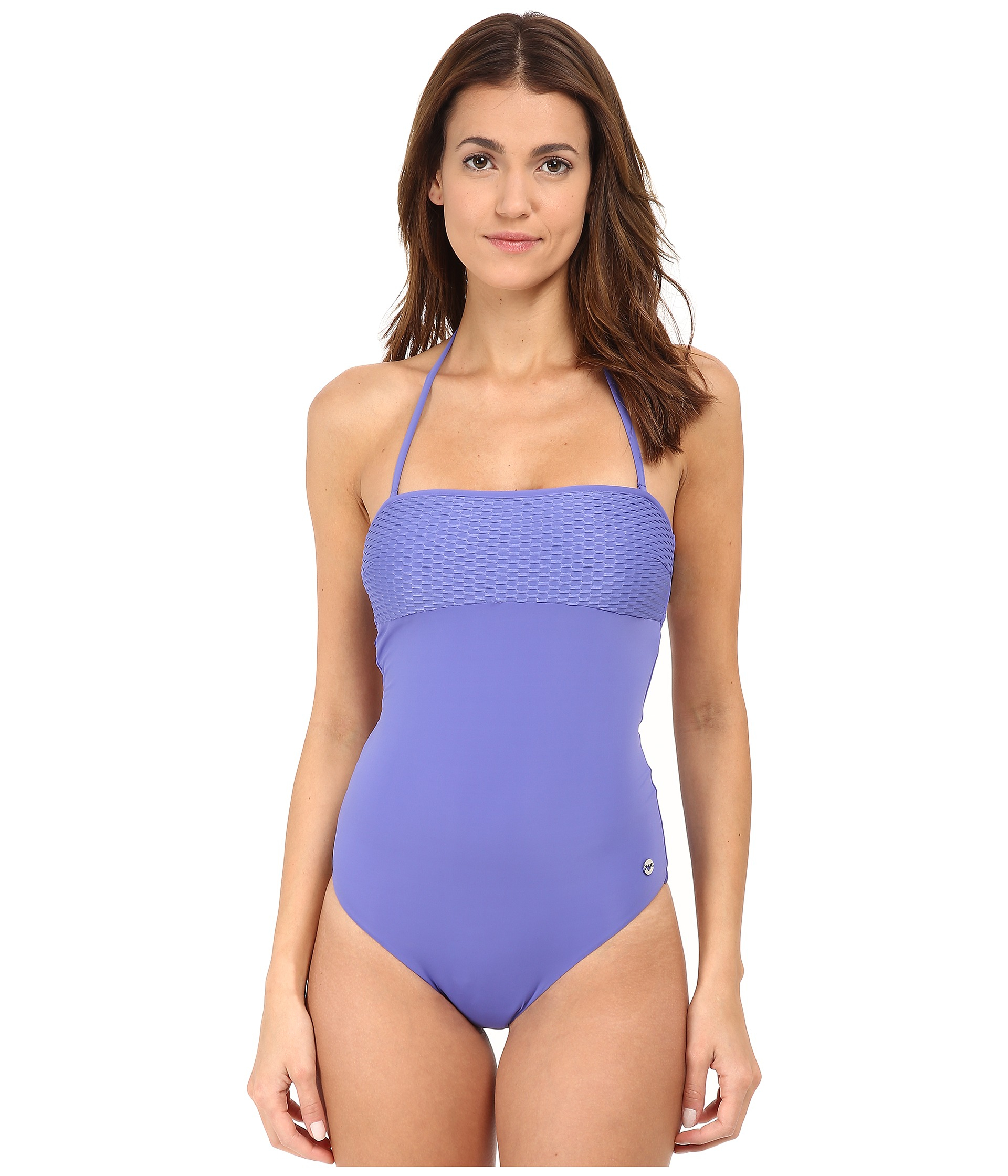Emporio Armani Modern Wave Knit One Piece Bathing Suit In