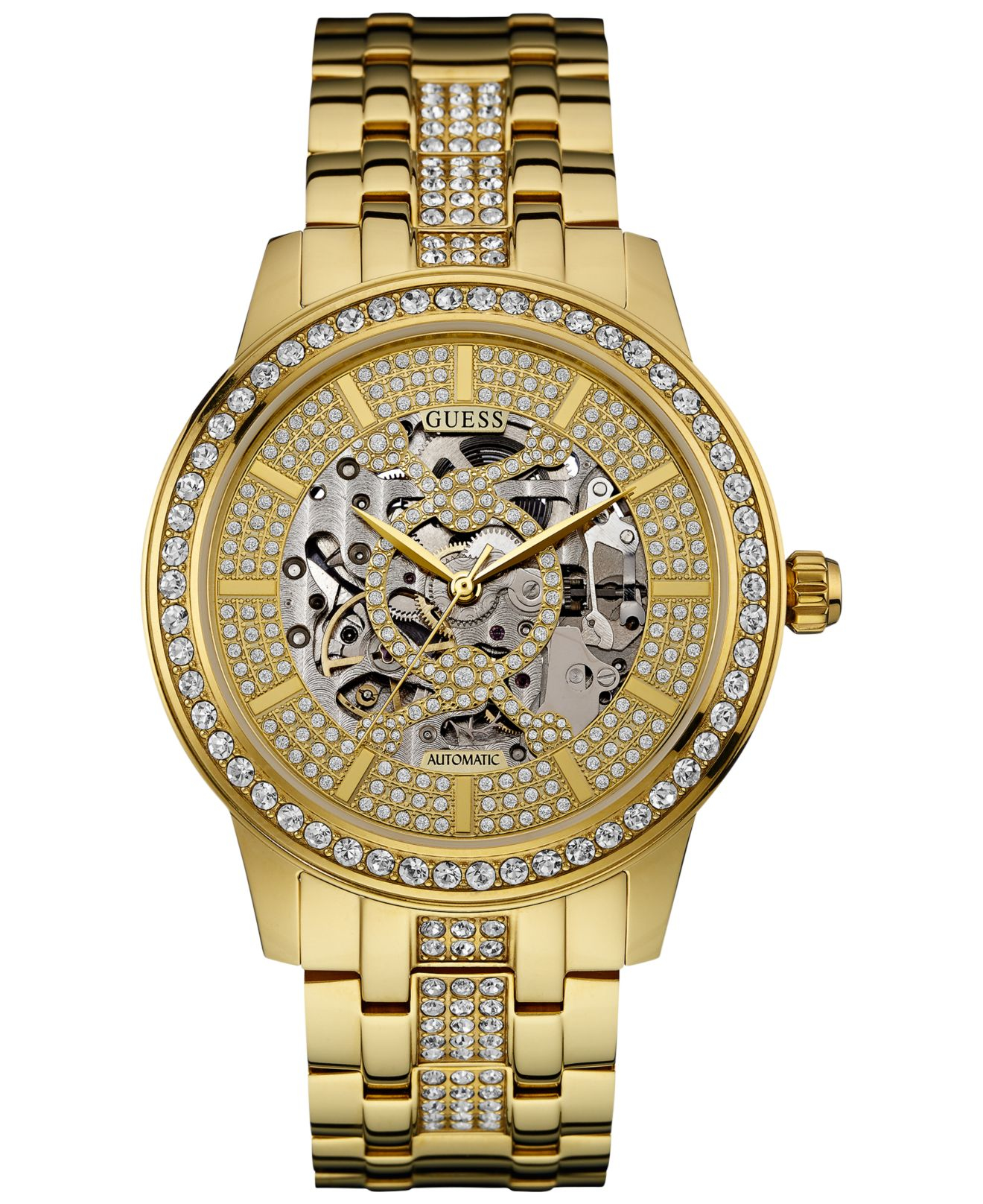 guess men s crystal accent gold tone stainless steel bracelet gallery