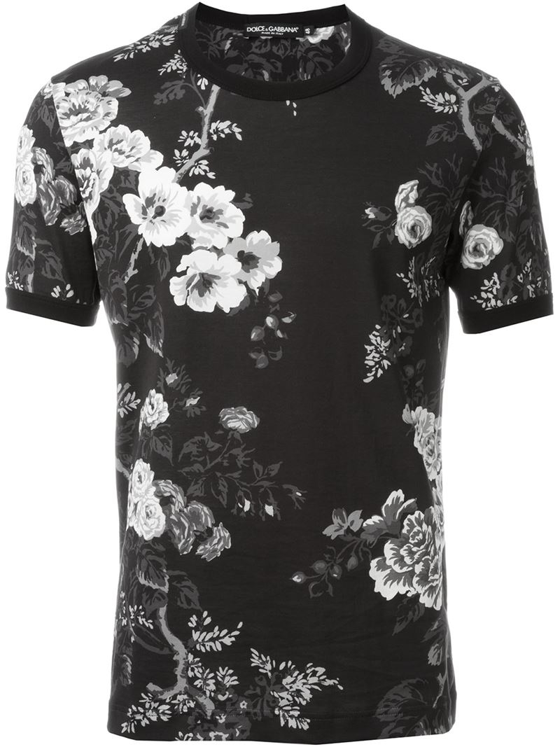 dolce gabbana floral print t shirt in black for men lyst