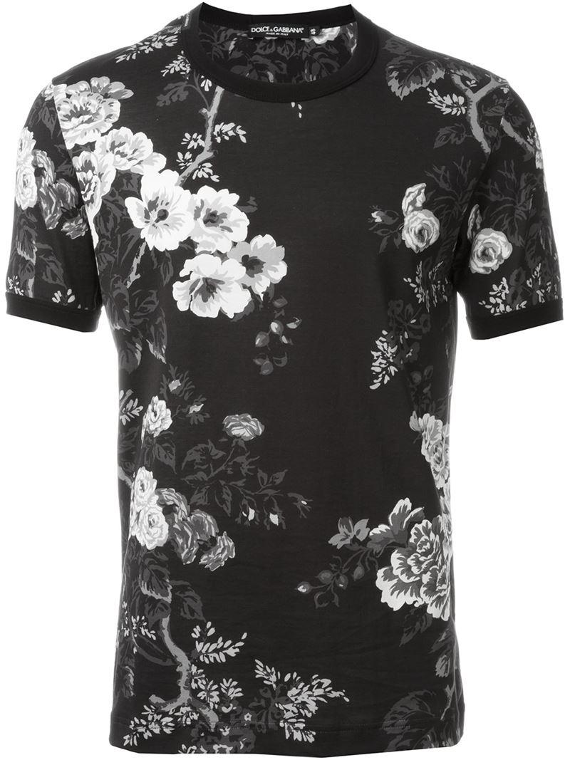 dolce gabbana floral print t shirt in black for men lyst. Black Bedroom Furniture Sets. Home Design Ideas