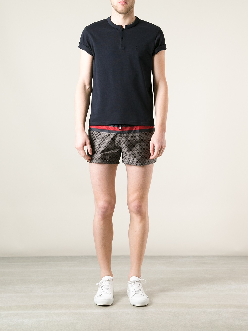 Lyst Gucci Printed Swim Shorts In Black For Men