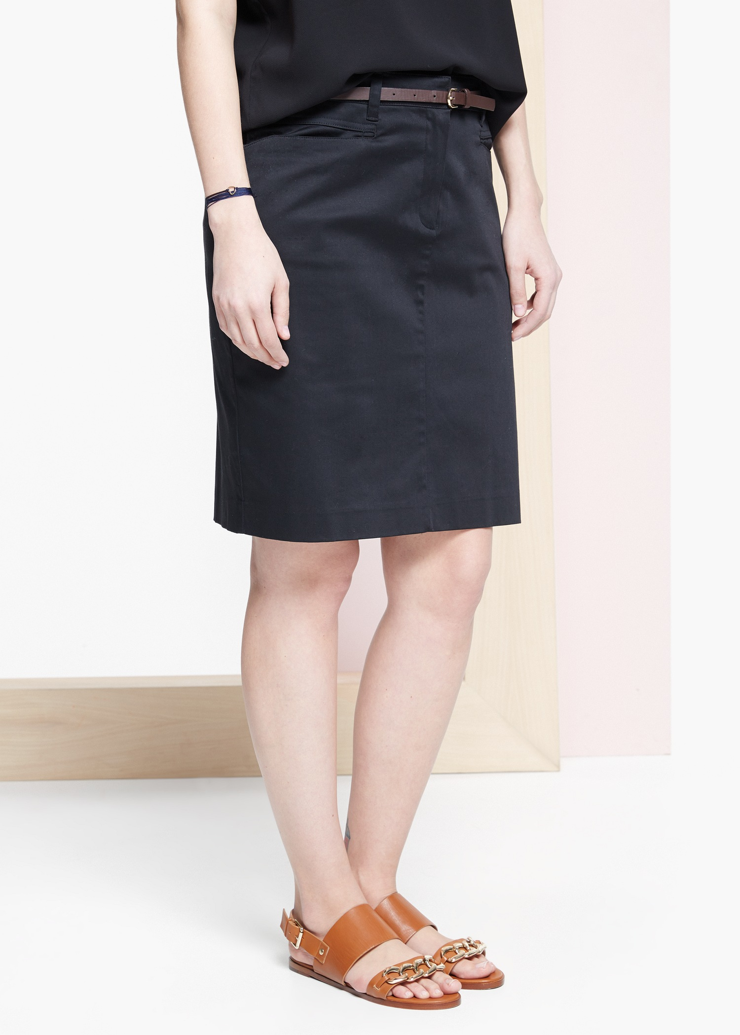 violeta by mango belt midi skirt in black lyst