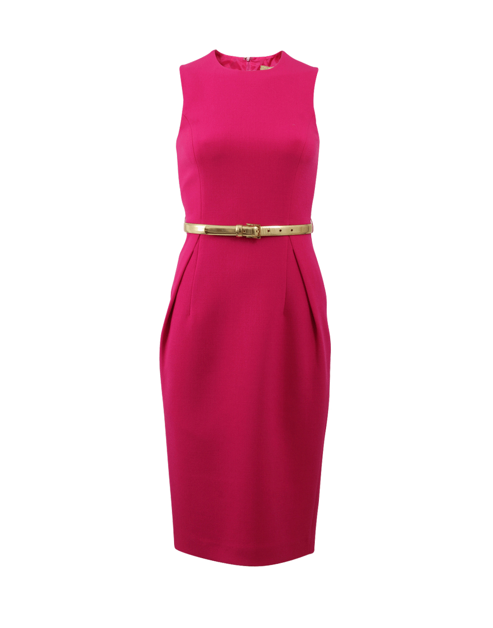 michael kors belted sheath dress in pink lyst