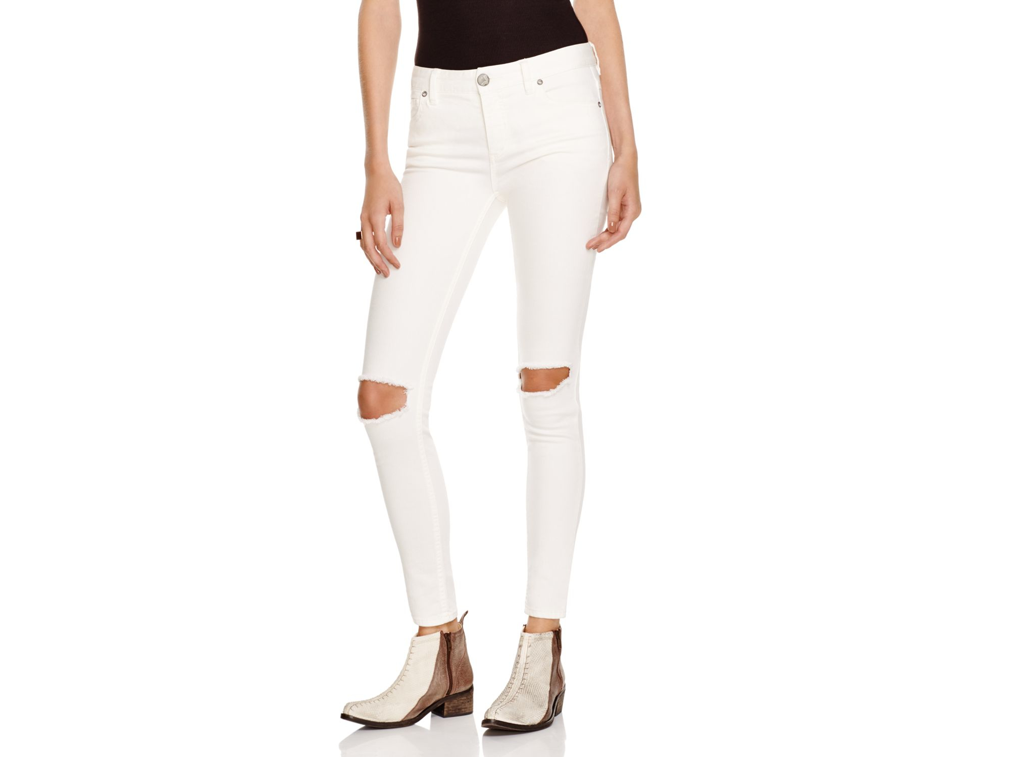 60% off Free People Denim - Free People White Skinny Jeans size 26 ...