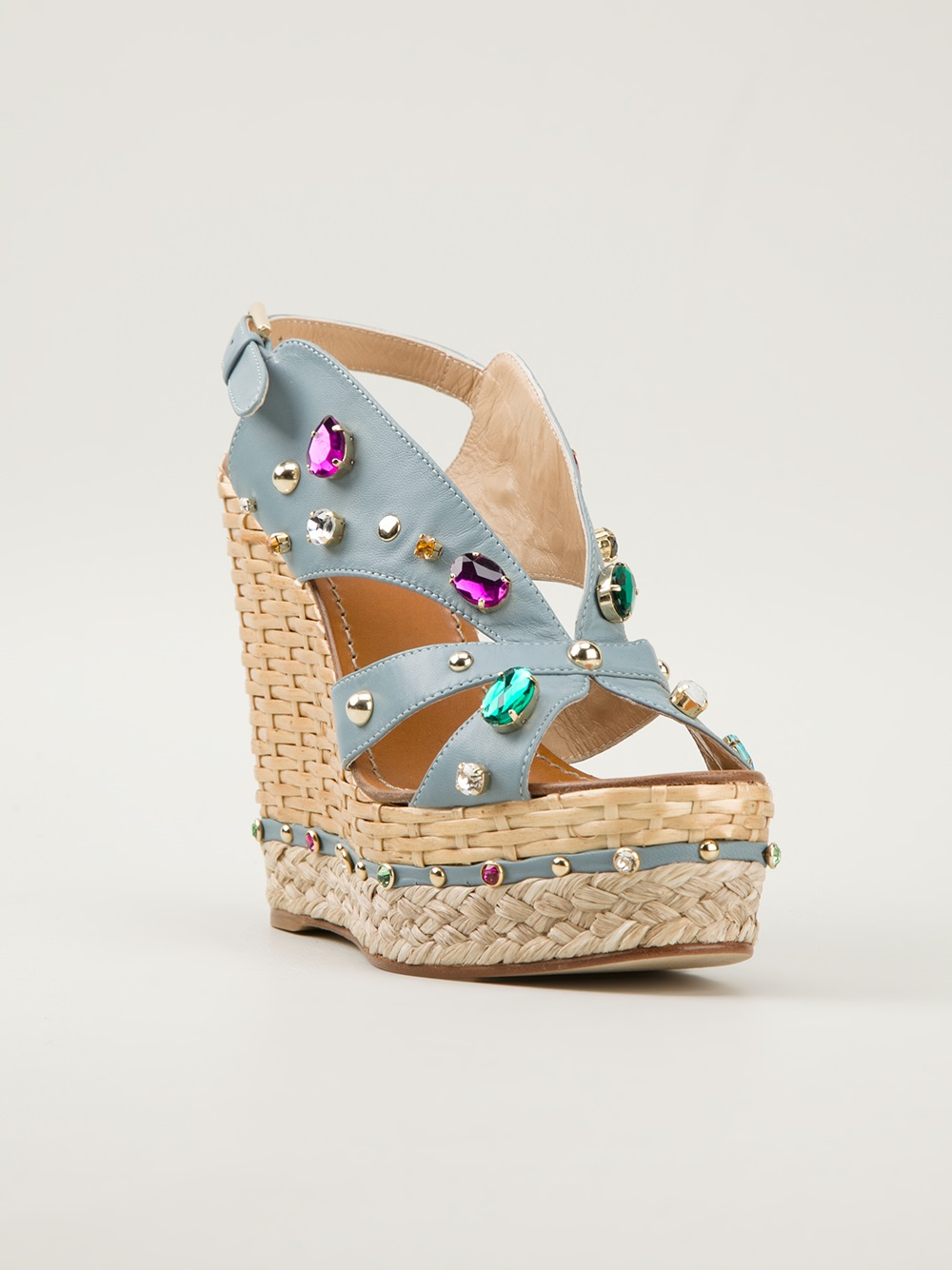 Dolce Amp Gabbana Embellished Wedge Sandals In Blue Brown