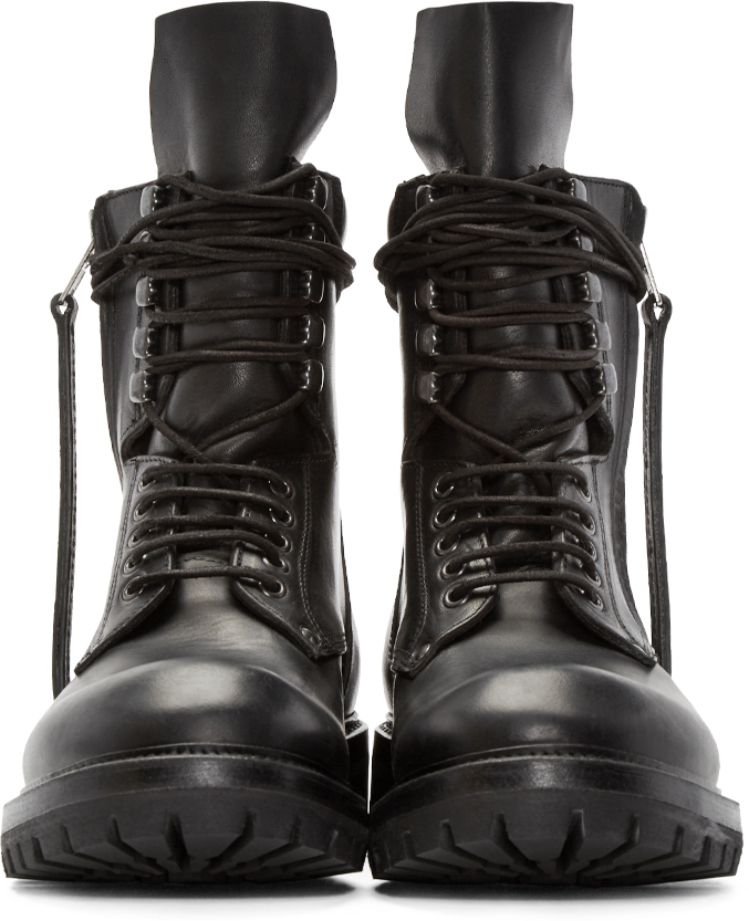 Rick Owens Black Leather Army Boots In Black For Men Lyst