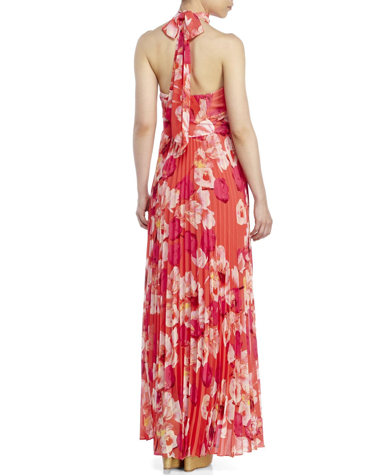 Lyst Eliza J Floral Chiffon Maxi Dress In Pink