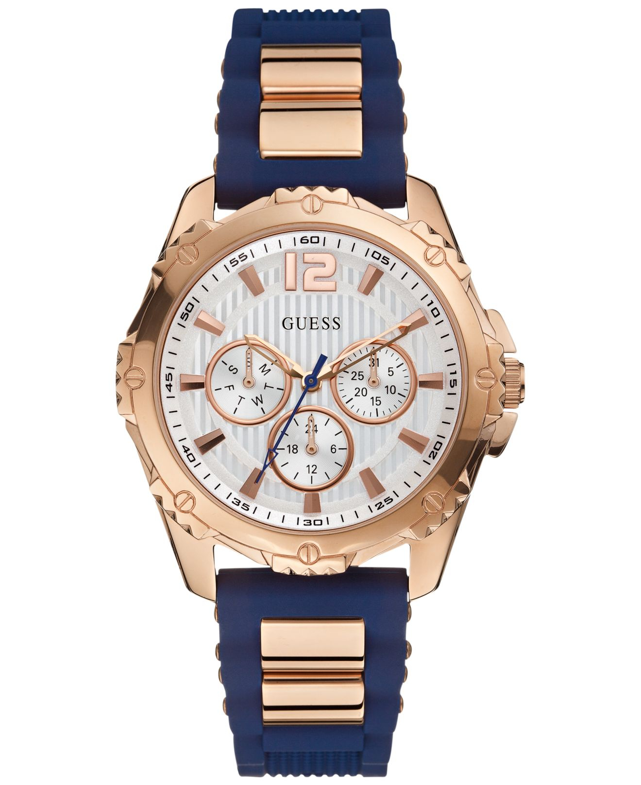 Guess Women's Navy Silicone Strap Watch 42mm U0325l8 in ...