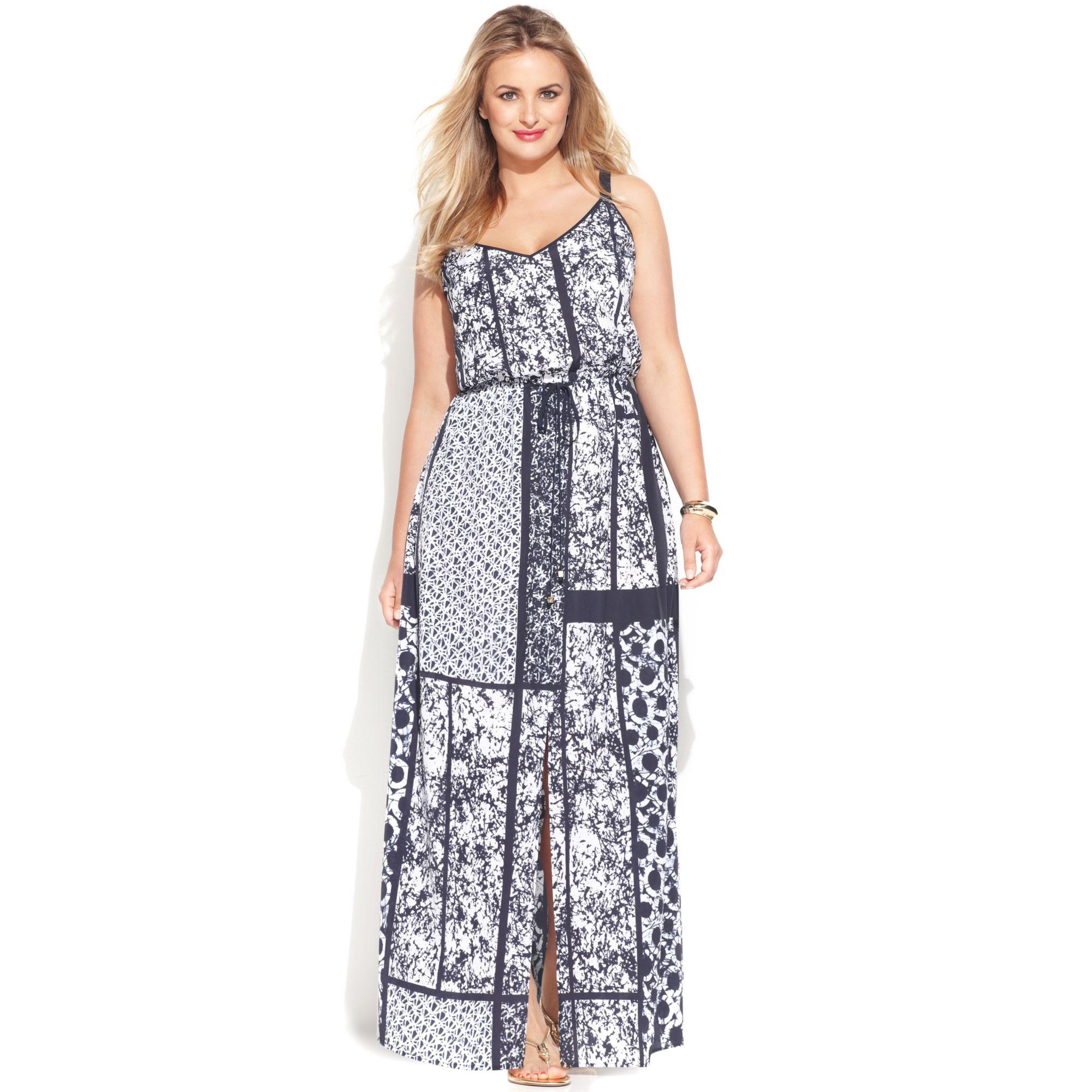 e7138fdb96f Lyst - Michael Kors Michael Plus Size Printed Drawstring Maxi Dress ...
