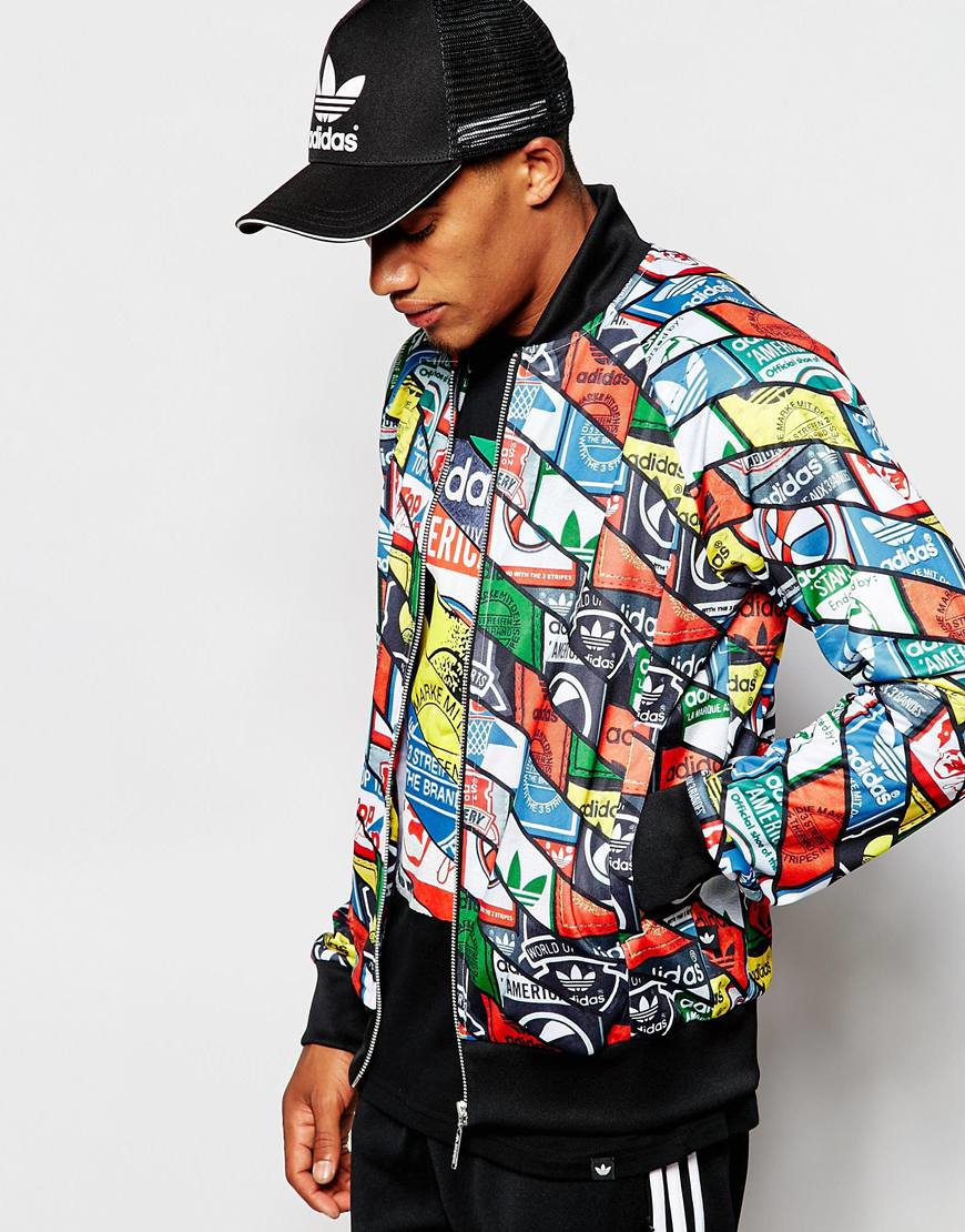 the latest 70bb4 be913 Lyst - adidas Originals Track Jacket In All Over Print Ab7683 in ...