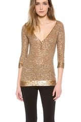 Donna Karan New York Elbow Sleeve Henley - Lyst