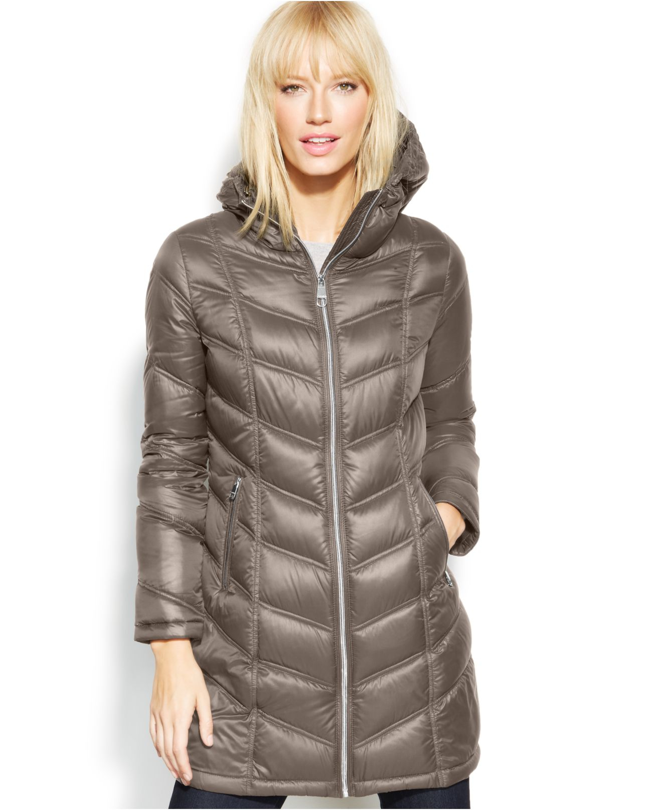 Calvin Klein Quilted Down Packable Puffer Coat In Gray Lyst