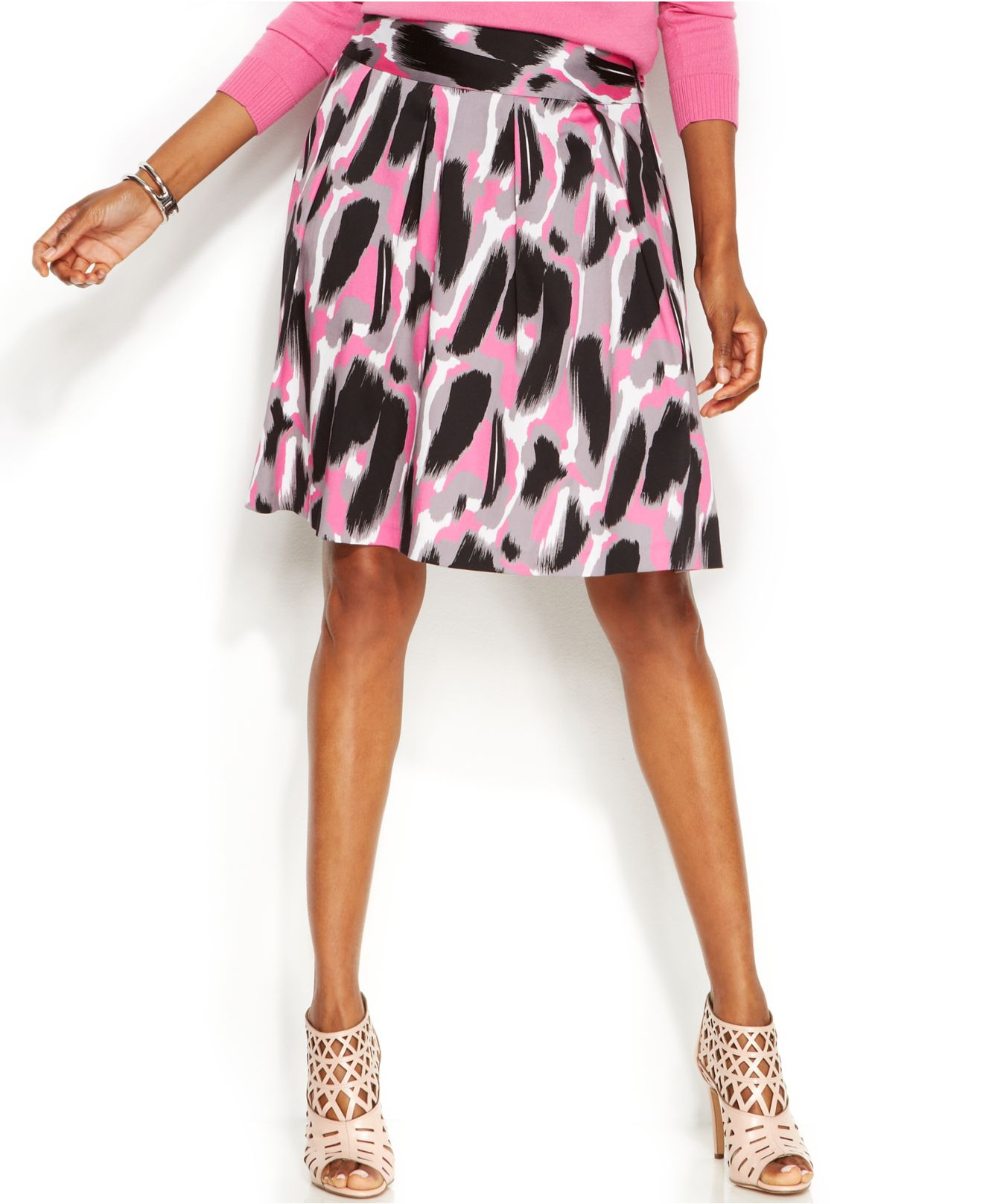 inc international concepts printed a line skirt in pink lyst