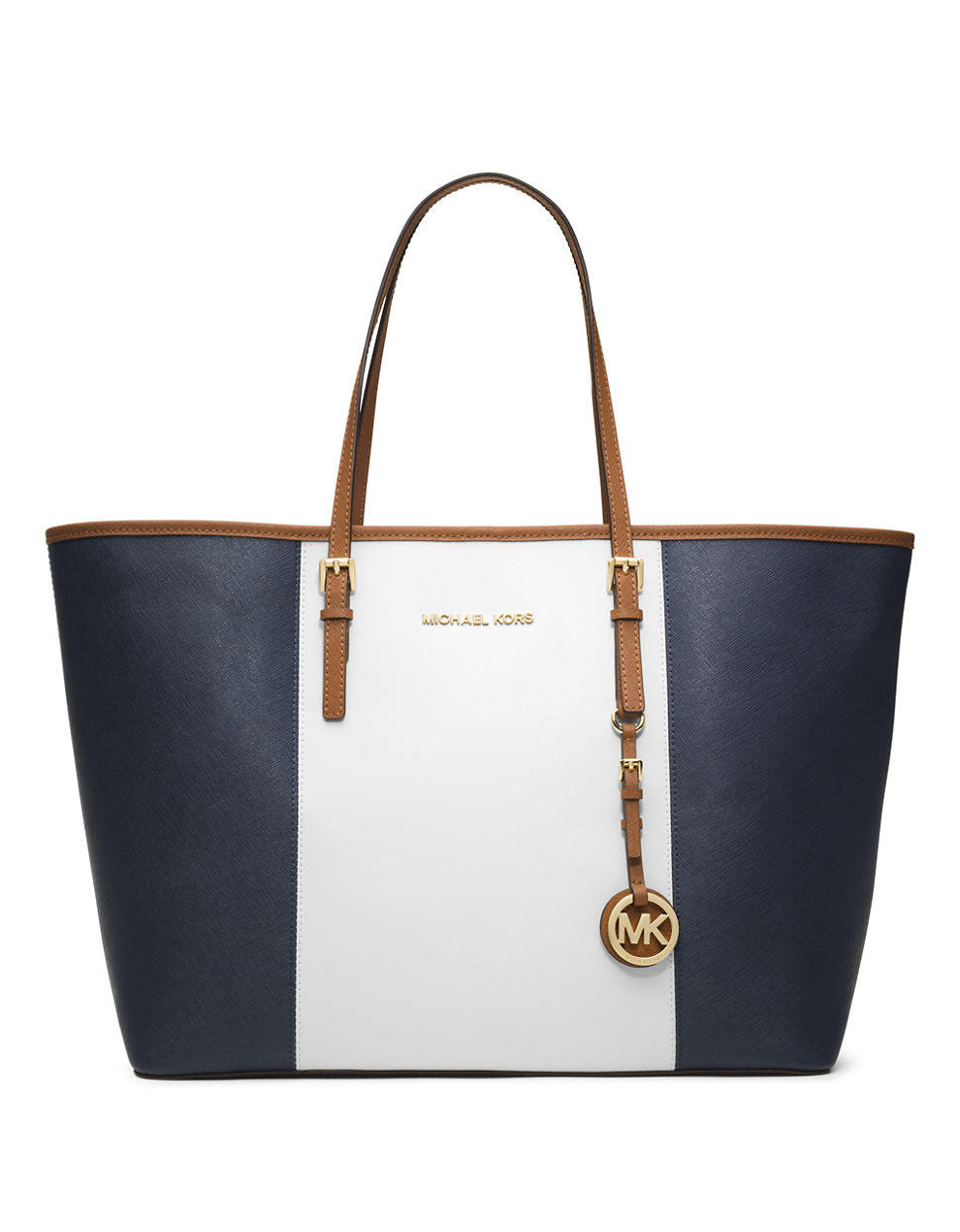 Michael michael kors Jet Set Leather Colorblock Medium Travel Tote ...