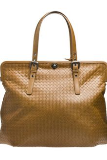 Bottega Veneta Intrecciato Leather Frame Handbag - Lyst