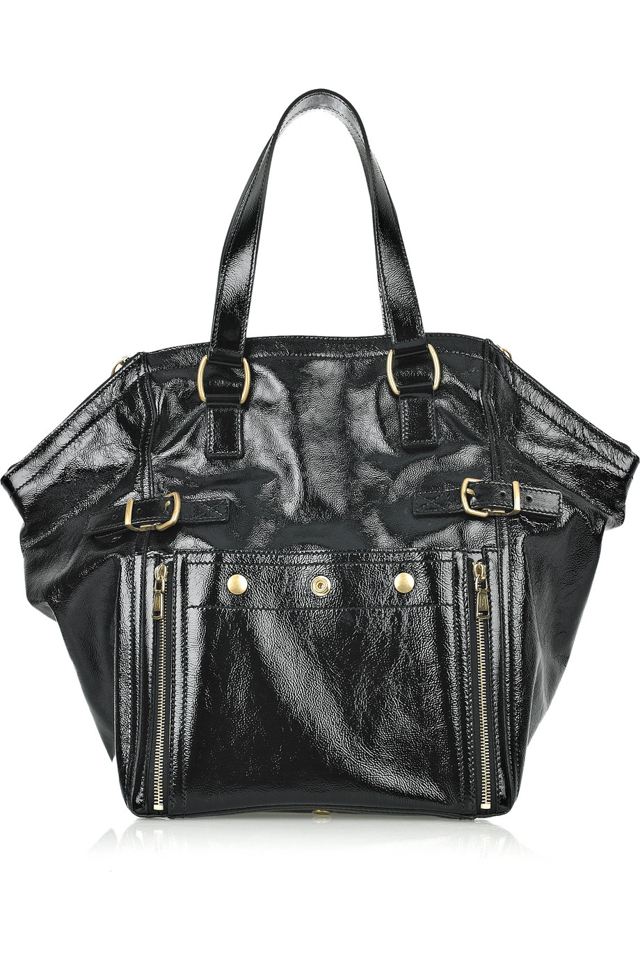 Saint laurent Downtown Patent-leather Tote in Black (nero) | Lyst