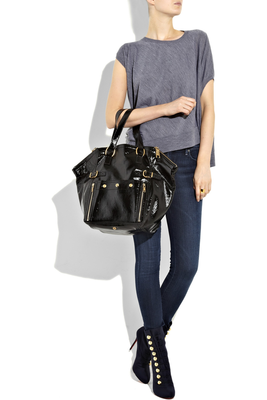 c75a94c881b Lyst - Saint Laurent Downtown Patent-leather Tote in Black
