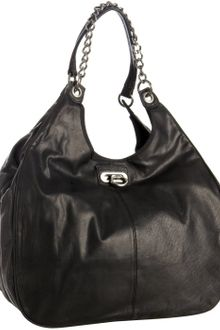 BCBGMAXAZRIA Black Leather Chain Link Large Shoulder Bag - Lyst