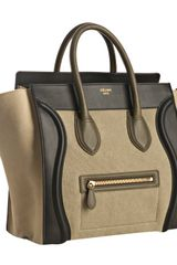 Celine Khaki Canvas Leather Detail Small Shopper Tote