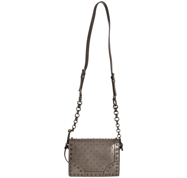 Prada Light Grey Studded Leather Mini Crossbody Bag in Gray (grey ...