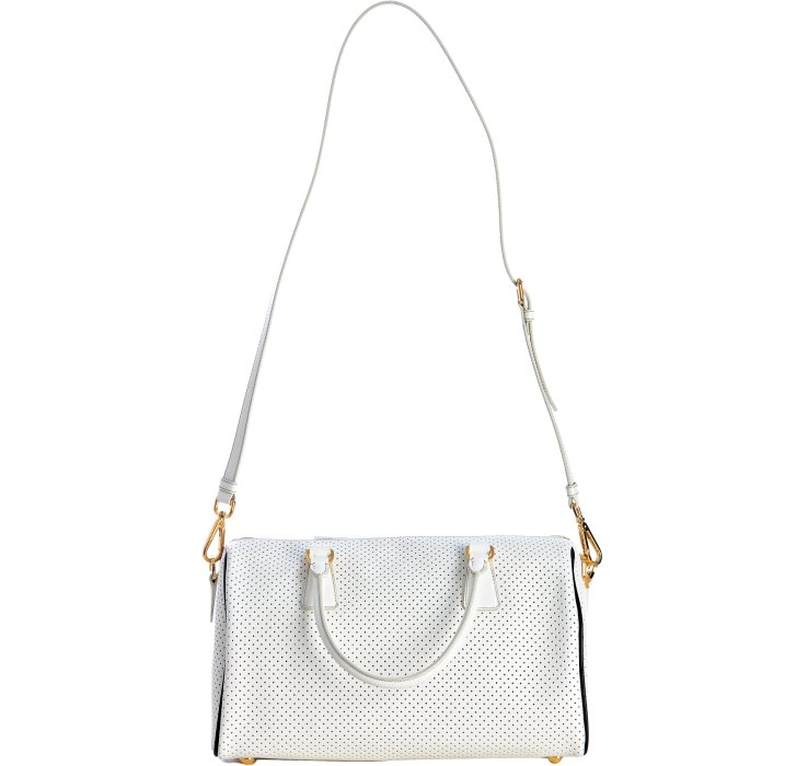 Lyst Prada White And Black Perforated Saffiano Small