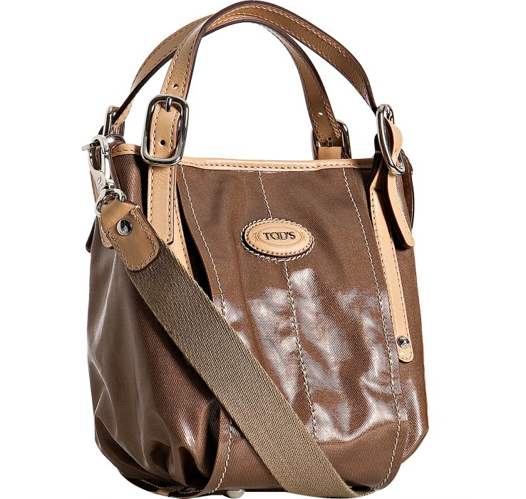 Tod's Brown Coated Canvas G-bag Easy Mini Tote in Brown