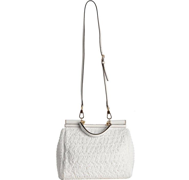 Dolce Amp Gabbana White Crochet Miss Sicily Top Handle Bag