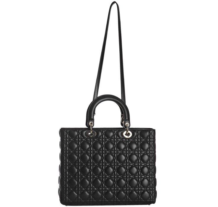 76e3d412af0 Dior Black Lambskin Lady Cannage Large Bag in Black - Lyst
